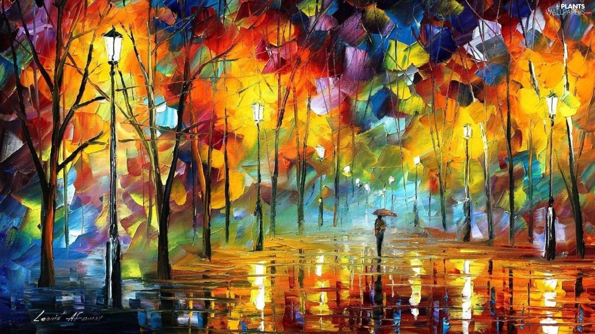 Leonid Afremov, Art Image, Rain, trees, Umbrella, autumn, alley, form, viewes