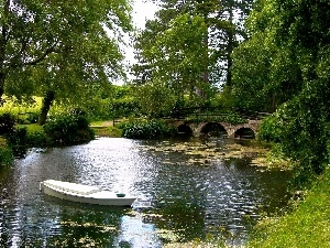 Boat, trees, viewes, Pond, green, bridges