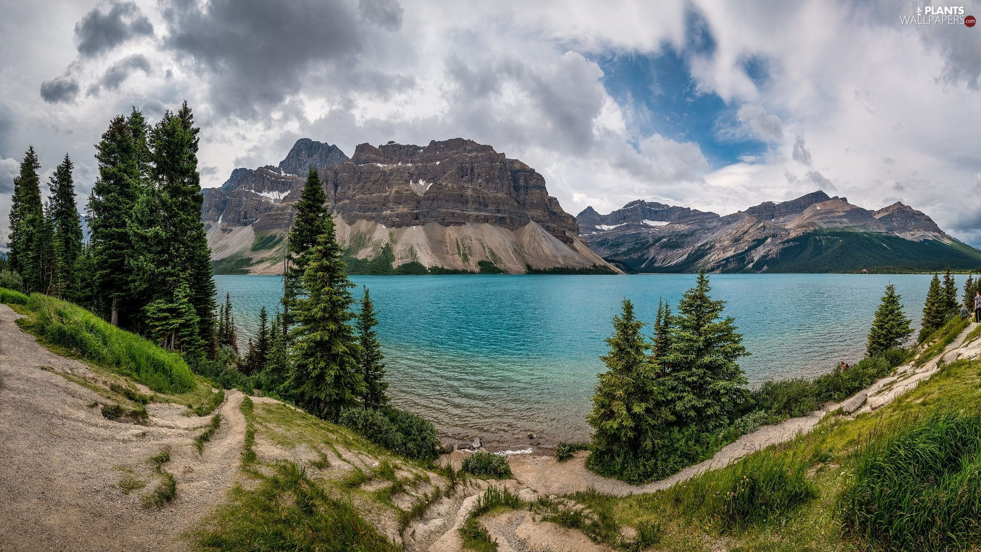 Banff National Park, Bow Lake, clouds, Mountains, viewes, Province of Alberta, Canada, trees
