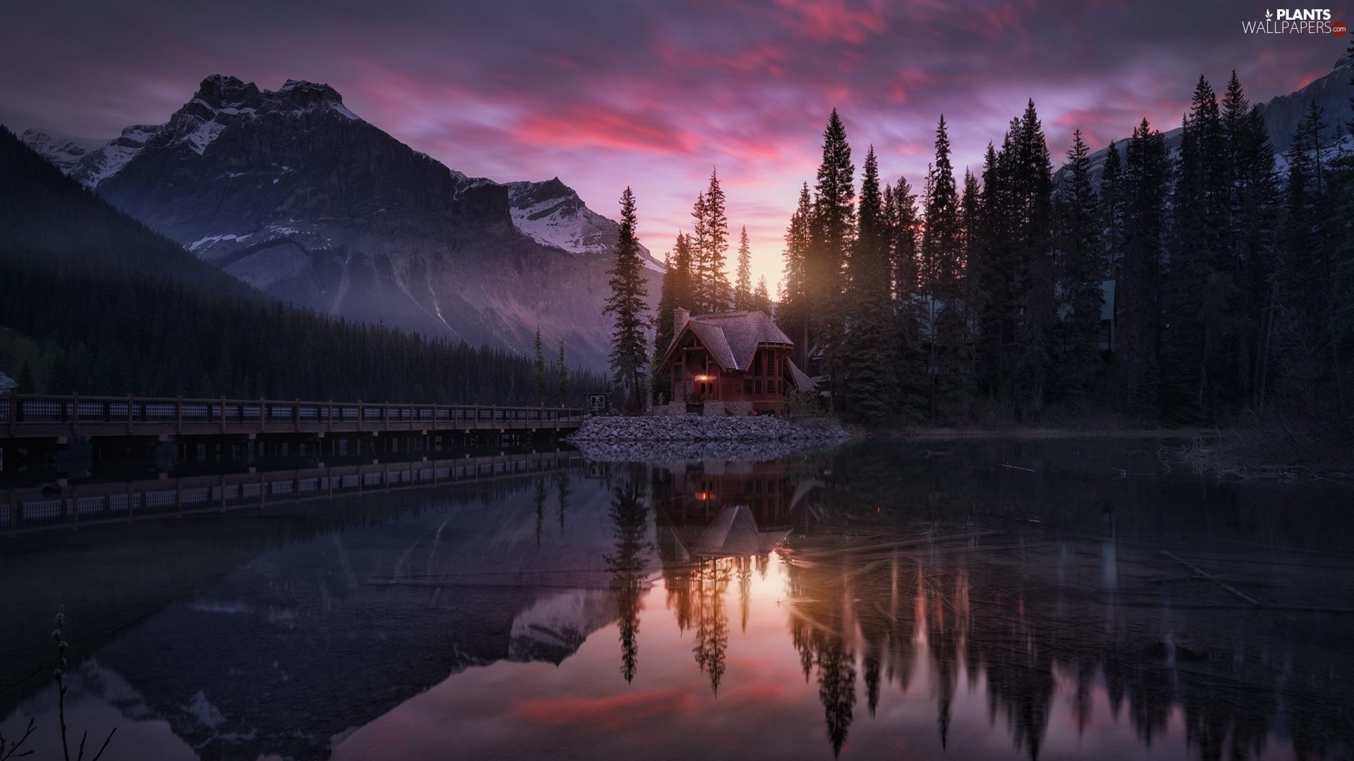 trees, Emerald Lake, Province of British Columbia, house, Canada, clouds, Floodlit, viewes, bridge, Yoho National Park, Mountains, Great Sunsets, lake