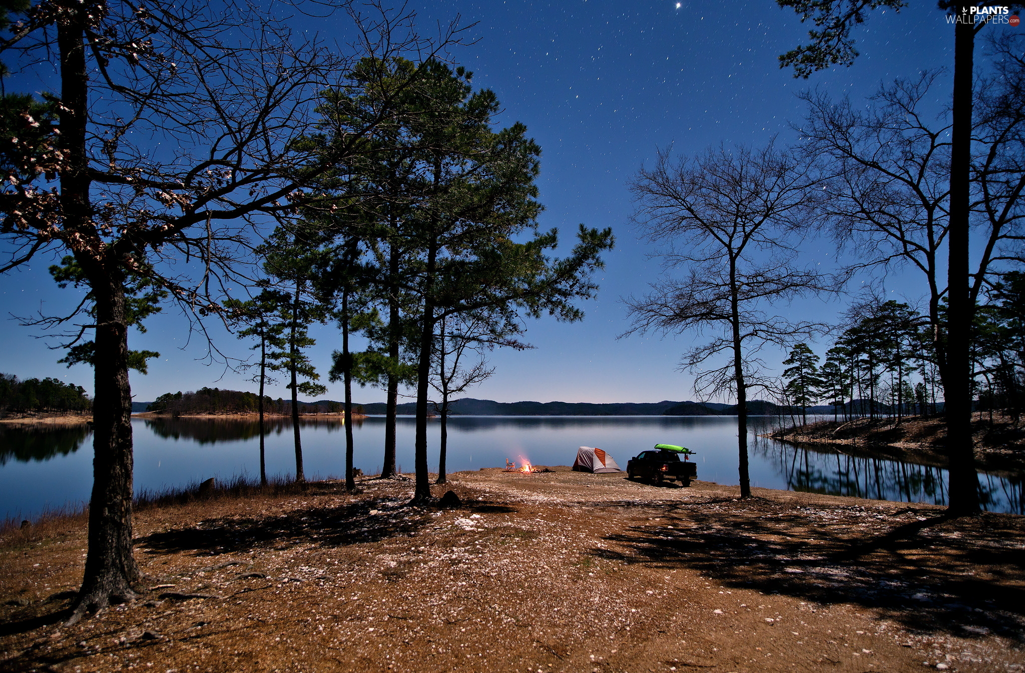 bivouac, fire, trees, viewes, lake