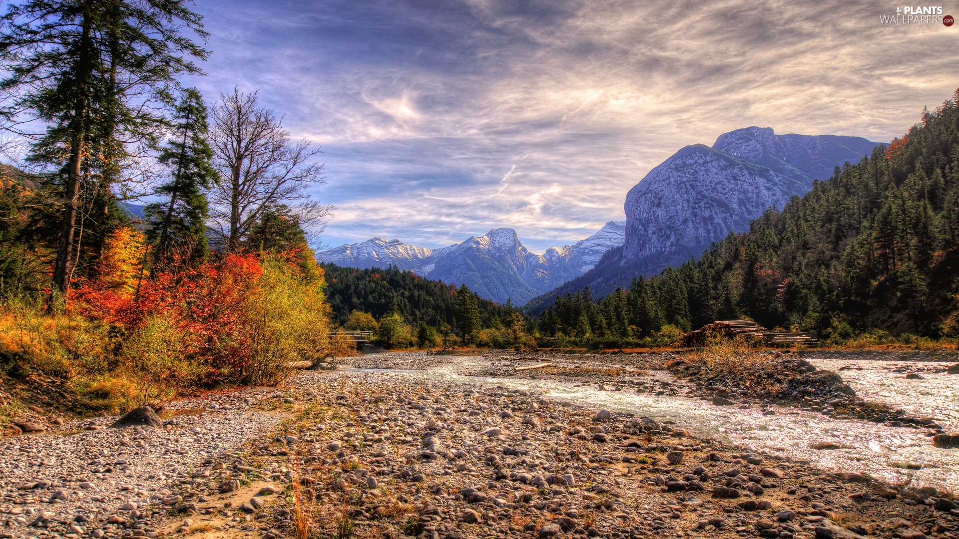 trees, River, autumn, forest, Mountains, viewes, clouds