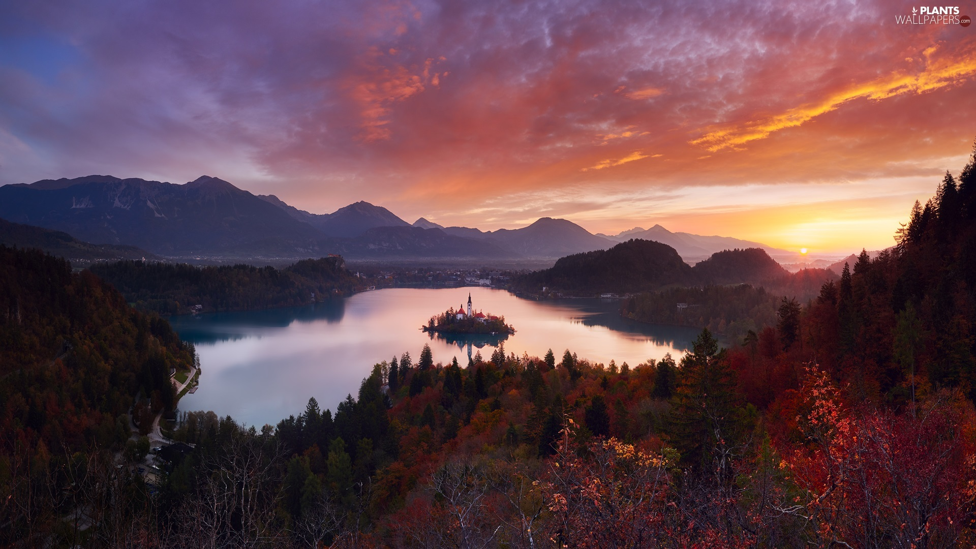 Lake Bled, Blejski Otok Island, Church of the Assumption of the Virgin Mary, Mountains, Great Sunsets, Slovenia, viewes, clouds, trees
