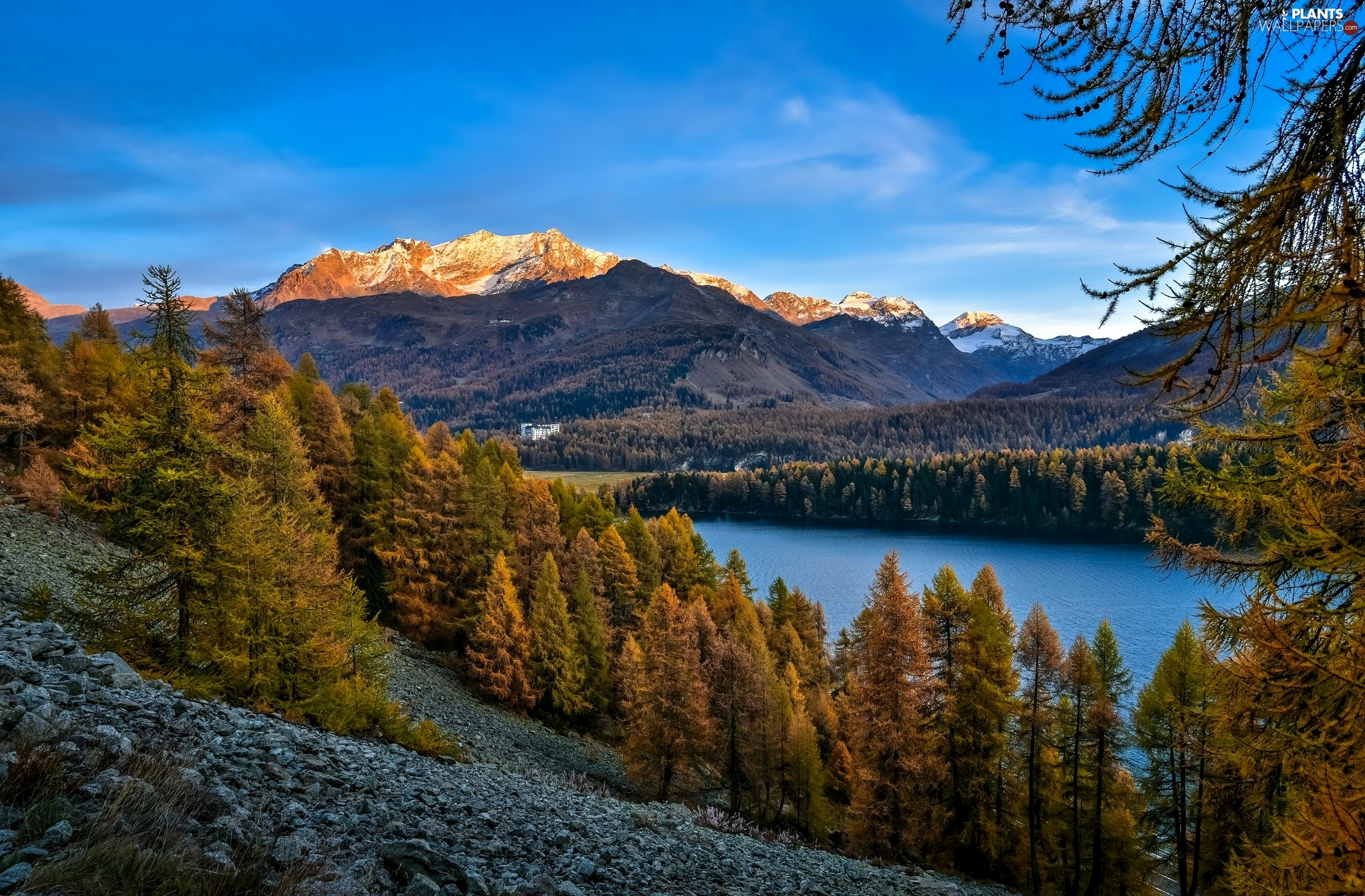 viewes, autumn, lake, Stones, Mountains, trees