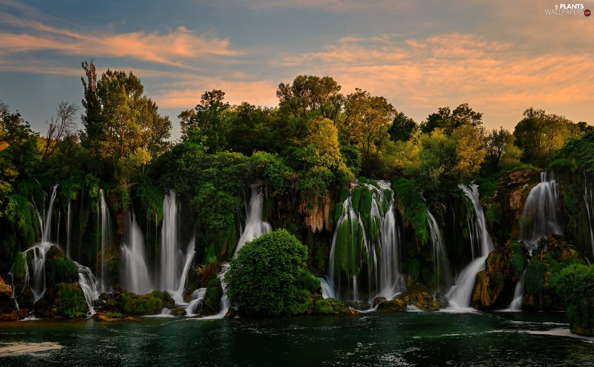 trees, Kravica Waterfalls, VEGETATION, Bosnia and Herzegovina, viewes, River