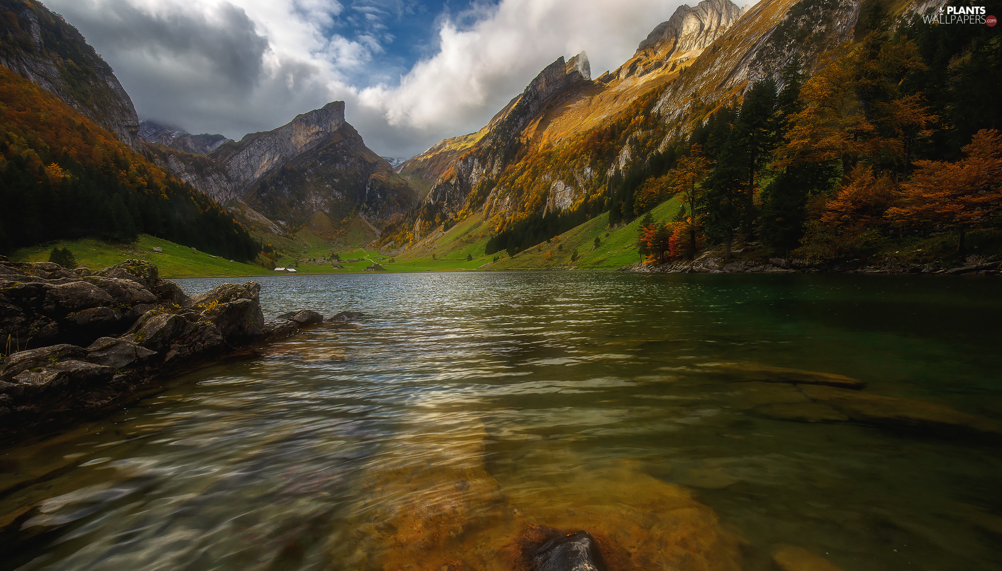 Mountains, autumn, trees, viewes, rocks, lake
