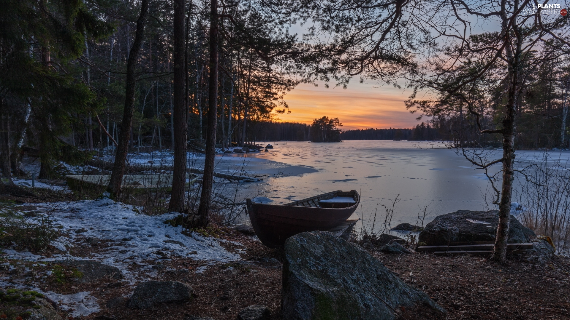 viewes, lake, Sunrise, winter, Boat, trees