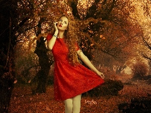 autumn, Leaf, red hot, dress, Women
