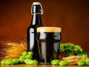 Bottle, dark, barley, hop, mug, Beer