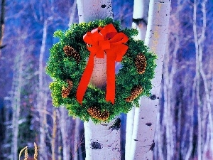 birch, wreath, Christmas