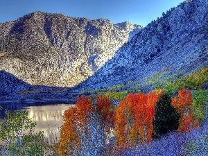 color, Mountains, viewes, White frost, trees, River