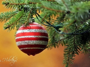 christmas tree, bauble, festively decorated, branch