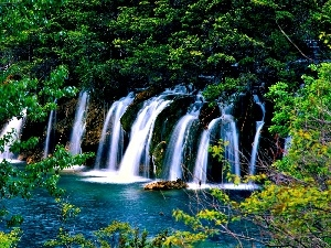 waterfalls, viewes, lake, trees