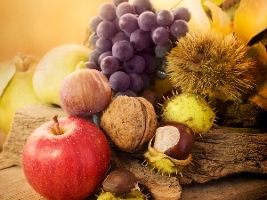 chestnuts, Grapes, composition, nuts, apples, Leaf, autumn