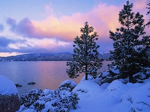 Mountains, winter, trees, viewes, lake