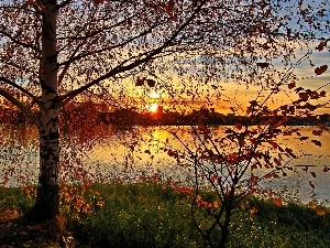 sun, autumn, clouds, west, lake