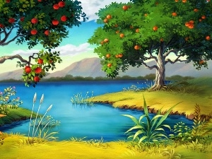 viewes, fruit, Mountains, trees, lake