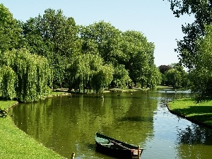 willow, Boat, trees, viewes, River