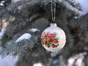 spruce, bauble, winter, fancy
